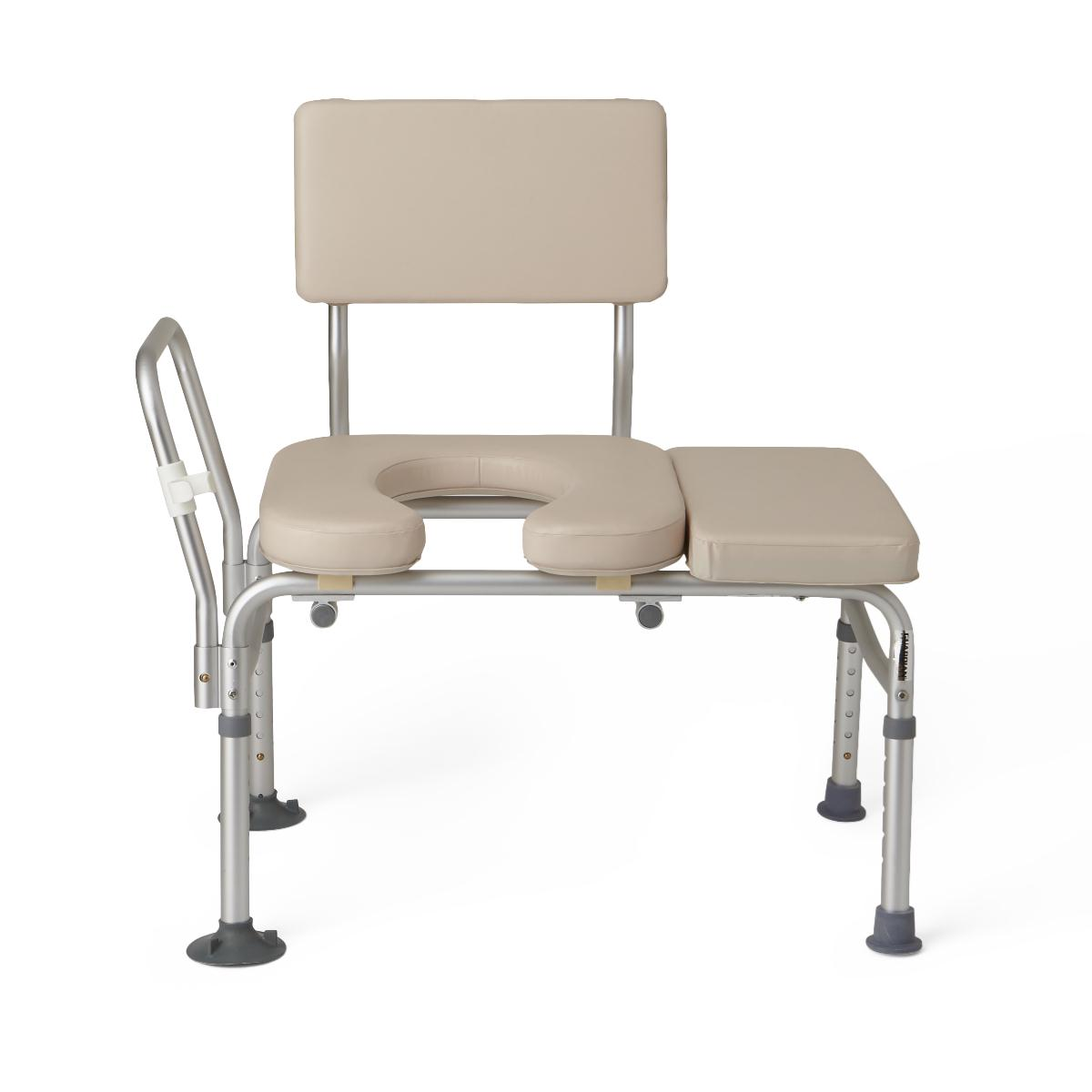 Medline Padded Transfer Bench With Commode Access Abilities